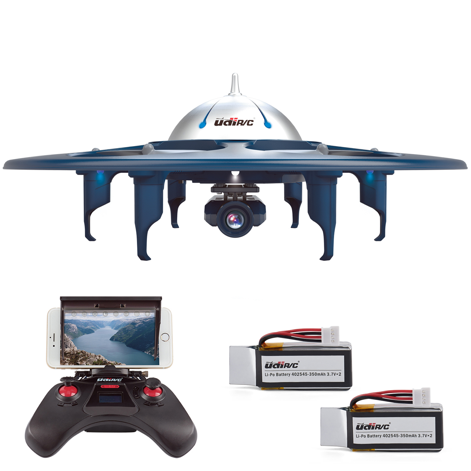 Cheerwing U845 Wifi FPV 2.4Ghz RC Headless Quadcopter Drone UFO with 720P HD Camera, iOS & Android Phone Control, Gravity Induction and VR Split Mode, Includes Bonus Battery