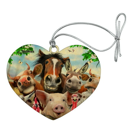 Psg Wood (Farm Selfie Horse Pig Chicken Donkey Cow Sheep Heart Love Wood Christmas Tree Holiday Ornament)