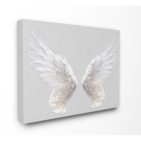 The Stupell Home Decor Collection Grey Wings Oversized Stretched Canvas Wall Art, 24 x 1.5 x 30 (Animal Collection Canvas Art)