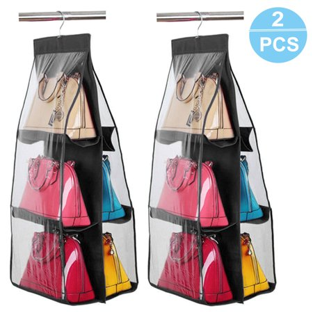 TSV 2PCS/1PC 6 Pockets Hanging Storage Bag Purse Handbag Tote Bag Storage Organizer Hangers (Purse Storage Organizer)
