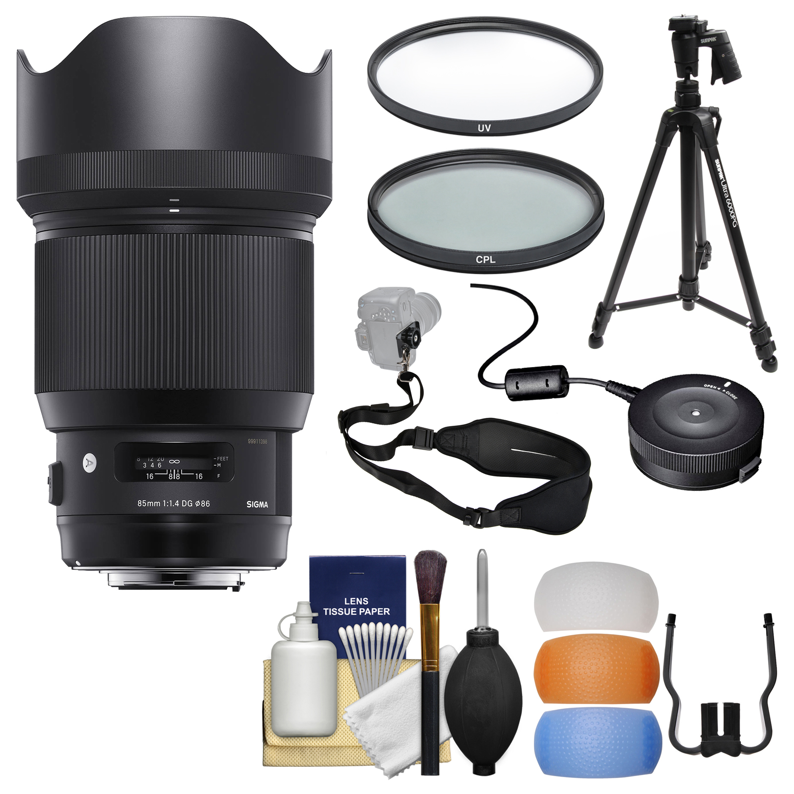 Sigma 85mm f/1.4 ART DG HSM Lens with USB Dock + Tripod + 2 (UV/CPL) Filters + Flash Diffusers + Sling Strap + Kit for Canon EOS Digital SLR Cameras