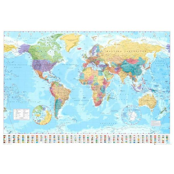 us map poster walmart World Map Poster 36x24 Walmart Com Walmart Com