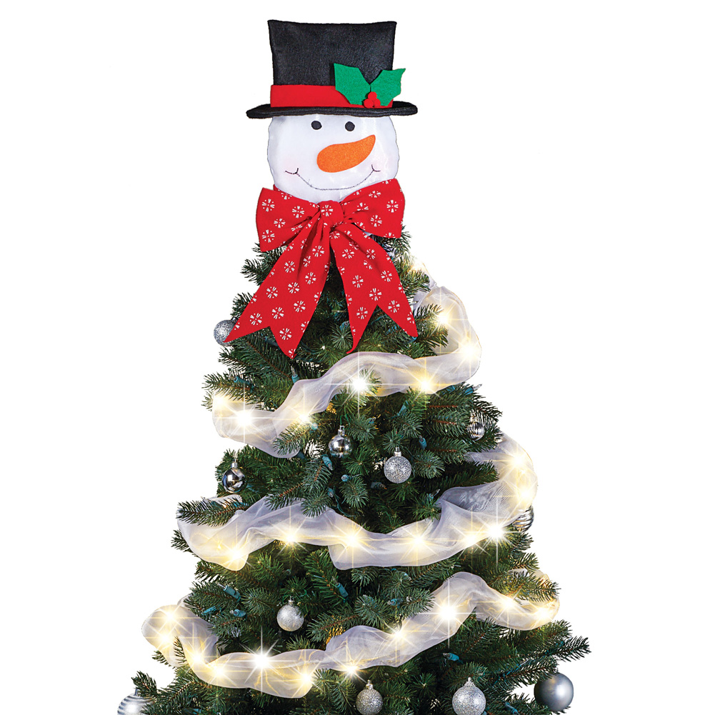 Lighted Snowman Christmas Tree Topper with Bow and Timer - Adorable Frosty the Snowman Holiday Accent