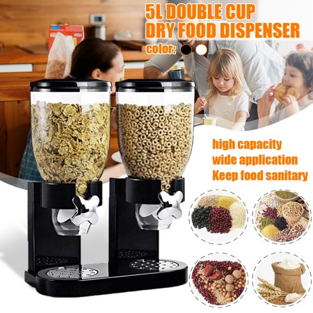 Double Chamber Dry Food Cereal Dispenser Airtight Kitchen ...
