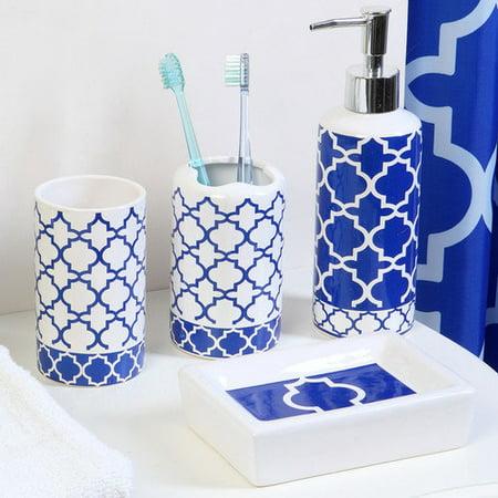 Luxury Home Lattice 4 Piece Bathroom Accessory Set