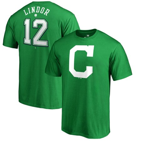 Cleveland Indians Crystal (Francisco Lindor Cleveland Indians Fanatics Branded 2018 St. Patrick's Day Stack Name & Number T-Shirt - Kelly Green)
