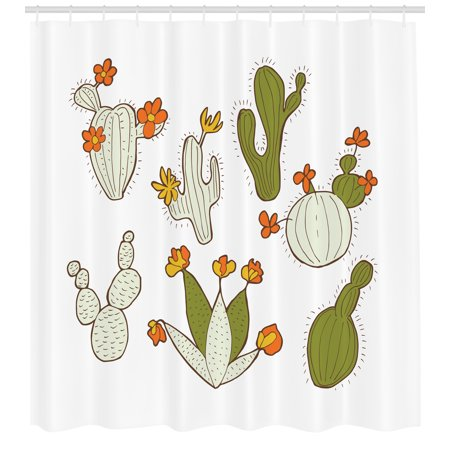 Cactus Shower Curtain Cute Doodle Cacti With Flowers Exotic Western Nature Cartoon Style Succulent Growth