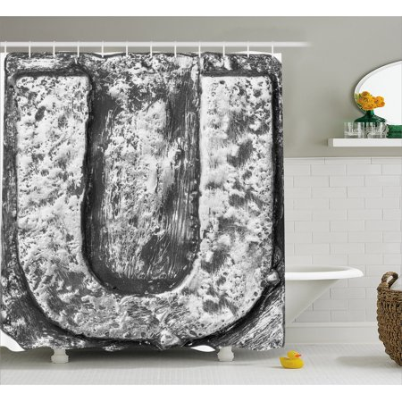 Letter U Shower Curtain, Uppercase U Character in Grey Tones Retro Sign Coin Style Industrial Background, Fabric Bathroom Set with Hooks, 69W X 84L Inches Extra Long, Black Grey, by Ambesonne