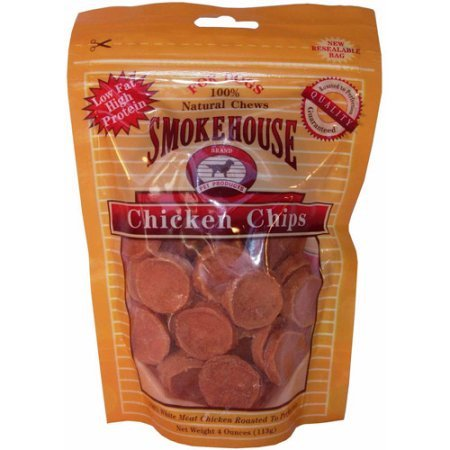 SmokeHouse Chicken Chips Dog Treats, 4 Oz