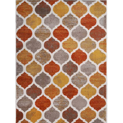 Home Dynamix Tremont Collection HD5012 731 Beige Orange Modern Moroccan  Area Rug, Contemporary