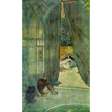 He saw black slaves lying asleep  Illustration by Edmund Dulac for The Story of The Magic Horse  From The Arabian Nights published 1938 Poster Print by Hilary Jane Morgan  Design Pics ()
