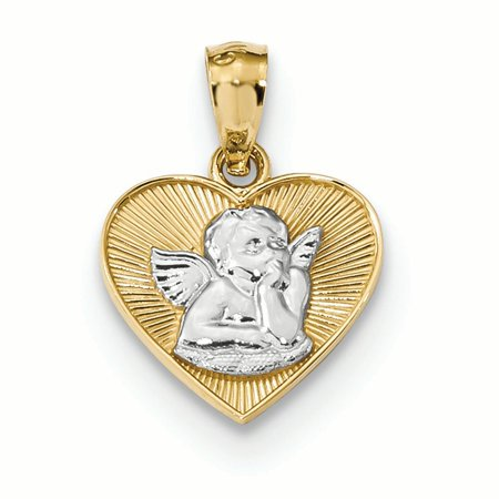 14K Two Tone Gold Guardian Angel in Heart Charm Pendant MSRP - Gold Angel Pendant Charm