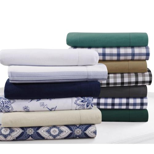 Flannel 200-GSM Solid or Printed Extra Deep Pocket Sheet Set Queen Sheet Set - Plaid - Black/Grey