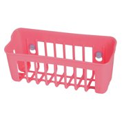 Unique Bargains Plastic Rectangle Shape Hollow Out Suction Cup Shelf Storage Basket Pink