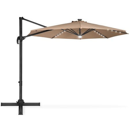 Best Choice Products 10-foot Solar LED 360 Degree Aluminum Polyester Cantilever Offset Market Patio Umbrella Shade w/ Easy Tilt and Smooth Gliding Handle, Tan