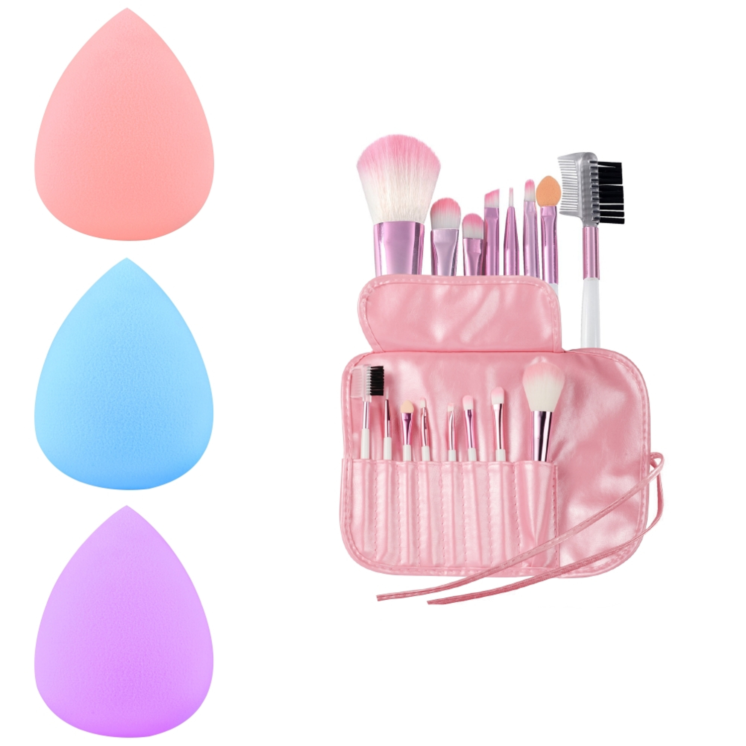 Zodaca Pro 8pcs Makeup Brushes Set Powder Foundation Eyeliner Lip Cosmetic+3x Sponge Blender Flawless Droplets