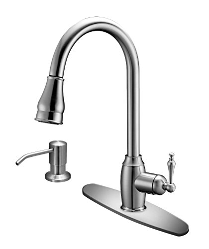 Miproducts Ftpds 01bn Mikitchen Single Handle Kitchen Faucet With Pull Down Sprayer Soap Dispenser And Brushed Nickel Finish 175 Inch Tall Walmart Com Walmart Com