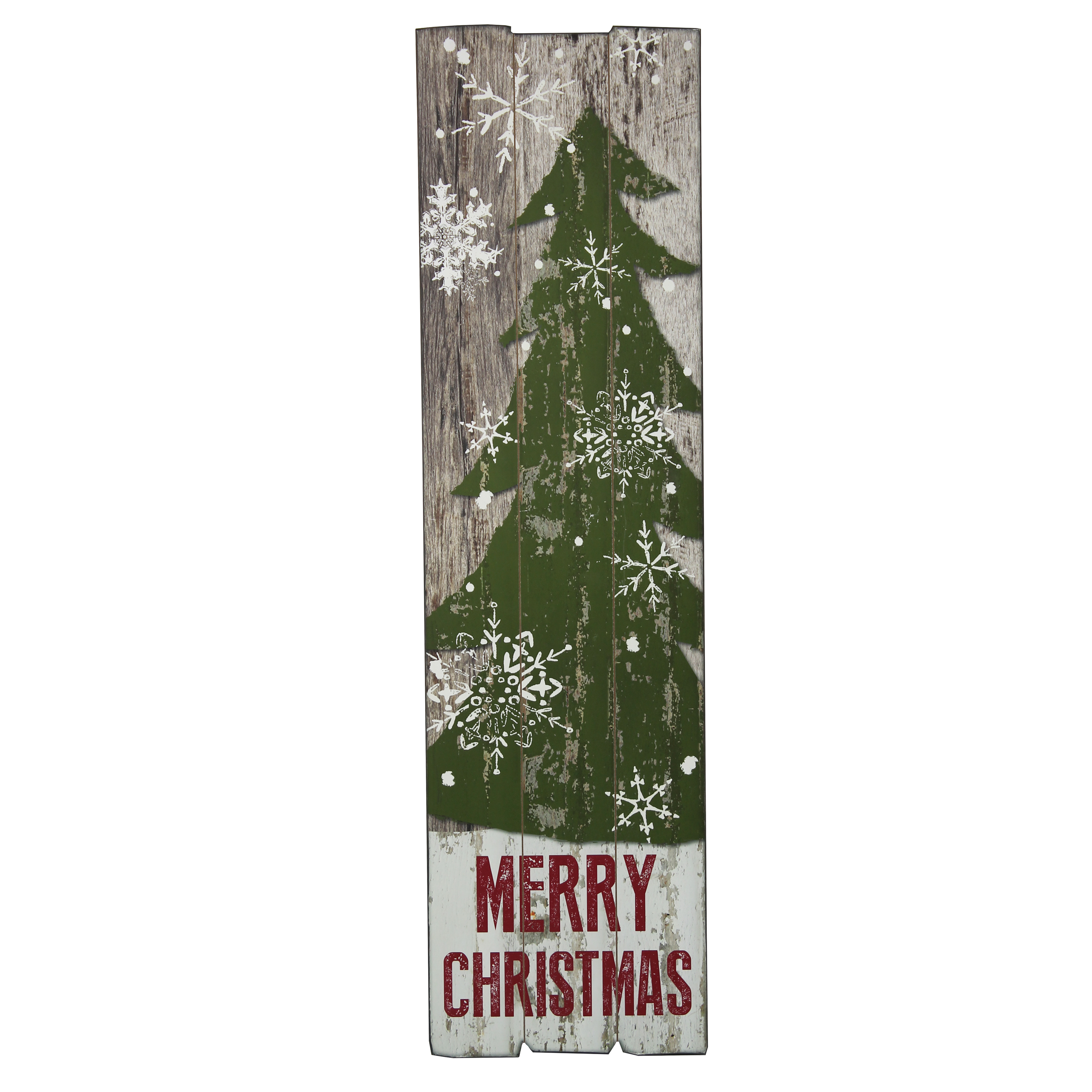 HOLIDAY TIME MERRY CHRISTMAS DISTRESSED WOOD SIGN, 12 X 44 INCH