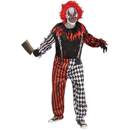Halloween Graveyard Sound Effects (Adults Freak Show Killer Clown Sound Effect Jumpsuit Led Suspenders Mask)