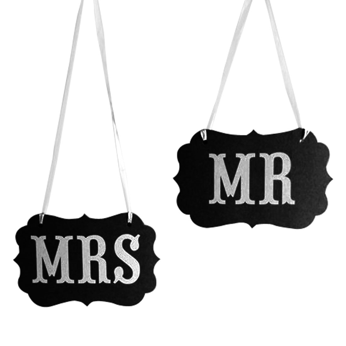MR MRS Letter Wedding Party Decoration Photo Prop Banner White Black Set 2 in 1