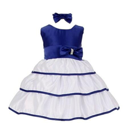 Wedding Bobble Head - StylesILove Wedding Easter Bow Satin Flower Baby Girl Dress with Headband 2-pc Set (18 Months, Royal Blue)