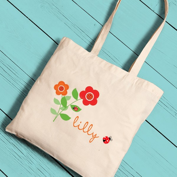Personalized Girl Canvas Tote-Music Notes