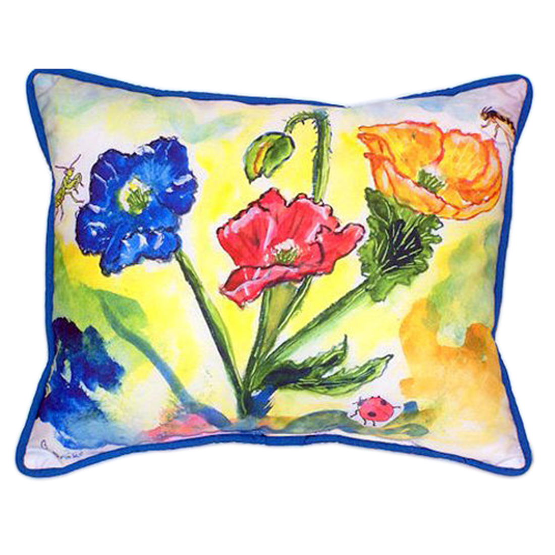 Betsy Drake Bugs and Poppies Extra Large 20 X 24 Indoor / Outdoor Zippered Pillow