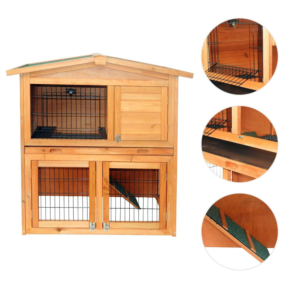 "UBesGoo 40""A-Frame Wood Wooden Rabbit Hutch Small Animal House Pet Cage Chicken Coop"