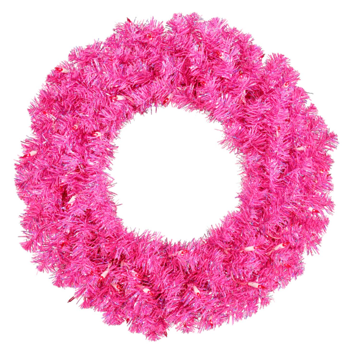 "36"" Pre-Lit Sparkling Hot Pink Tinsel Artificial Christmas Wreath - Pink Lights"