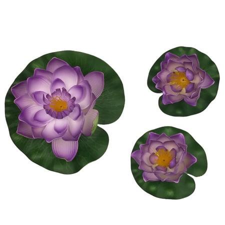 3-Piece Decorative Floating Artificial Purple Lotus Water Lilies