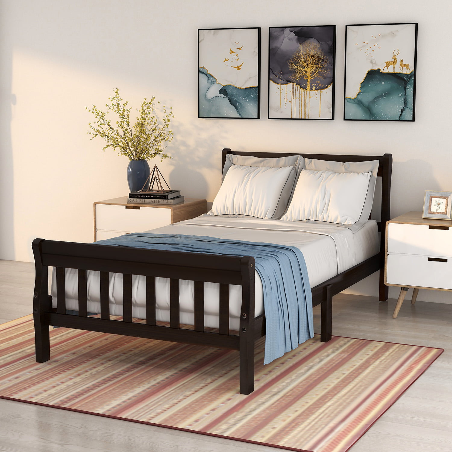 Platform Bed Frame Kids Bed With Headboard And Footboard Classic Twin Bed Frame For Kids Solid Wood Twin Size Bed Frame With Wood Slats Support Holds 200 Lb No Box Spring Needed