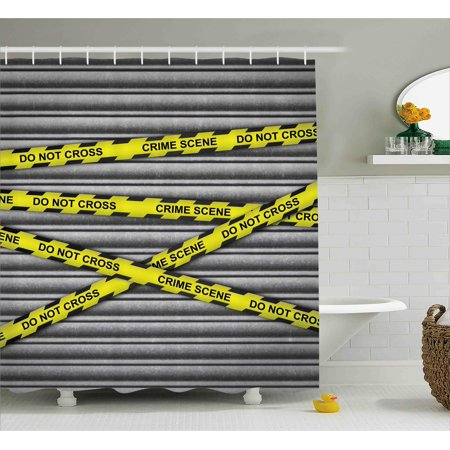 Police Shower Curtain, Police Scene Investigation Do Not Pass Yellow Wraps Quotes Work of Art Print, Fabric Bathroom Set with Hooks, Yellow Grey Black, by - Bathroom Passes