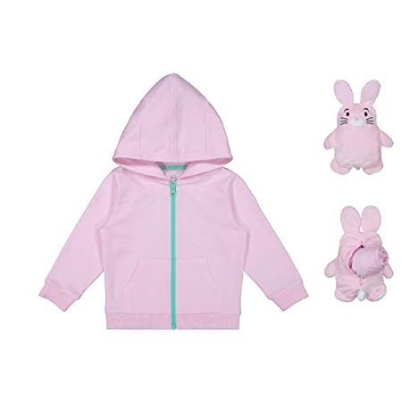 Girls/Boys' 2T-5TAnimal Critters Packable Plush Zip Up Hoodie (Bunny, 5t) Bunny Kids Hoodie