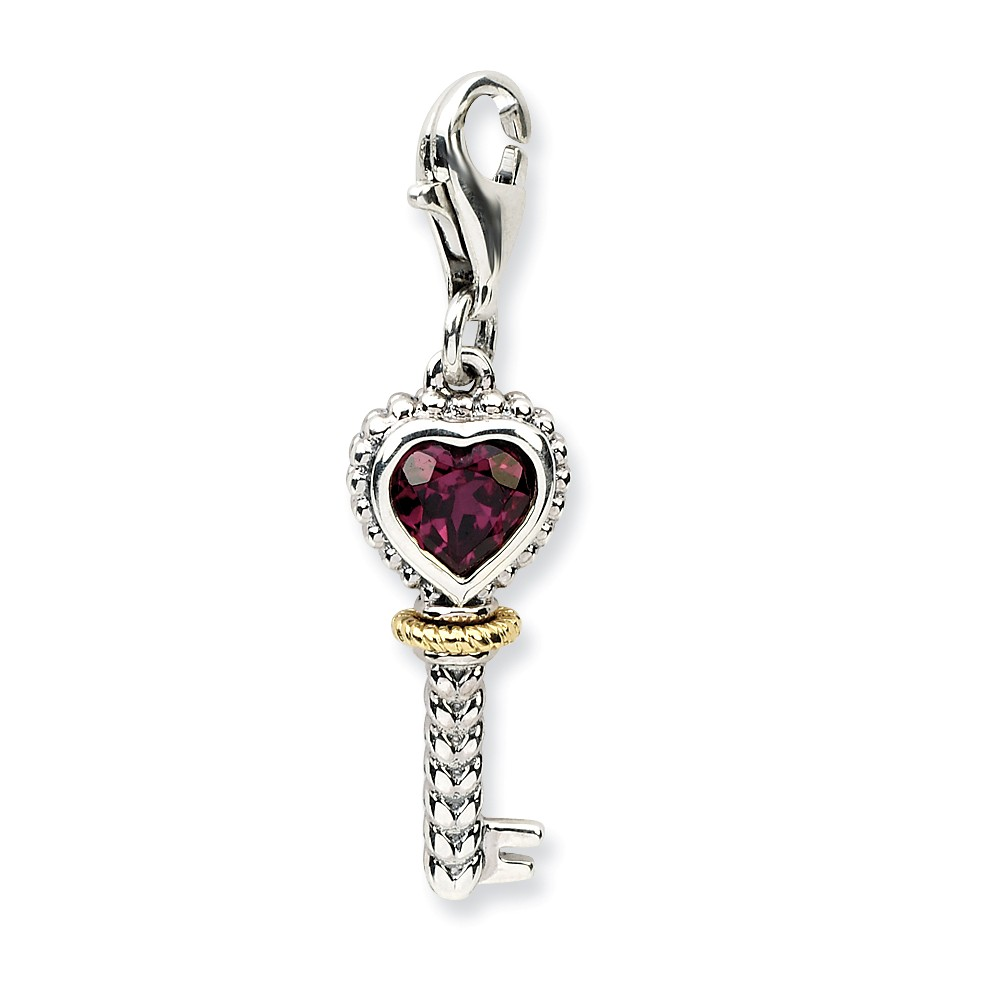 Sterling Silver with 14k Rhodilite Garnet Antiqued Key with Lobster Clasp Charm (0.7in)