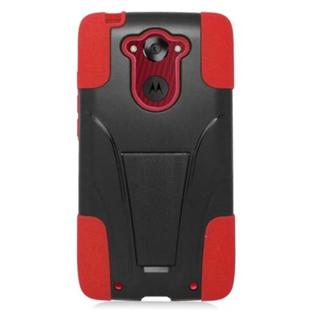 Insten Hard Hybrid Plastic Silicone Case with stand For Motorola Droid Turbo - Black ()