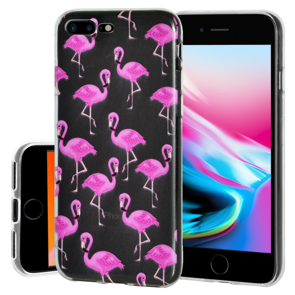 iPhone 8 Plus Case, Premium Soft Gel Clear TPU Graphic Skin Case Cover for Apple iPhone 8 Plus - Modern Flamingo Print, Support Wireless Charging, Slim Fit, ShockProof