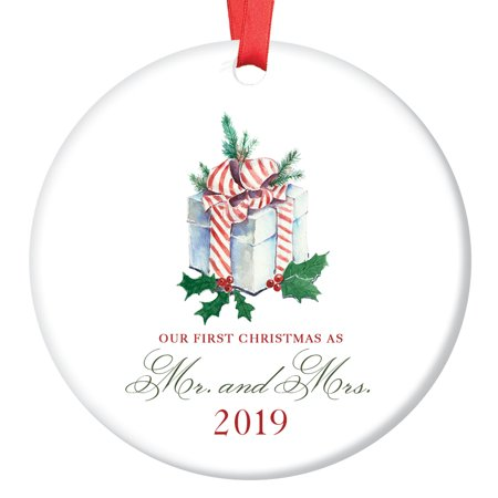 Our First Christmas as Mr & Mrs Ornament 2019, Present, 1st Married Christmas Ornament, 3