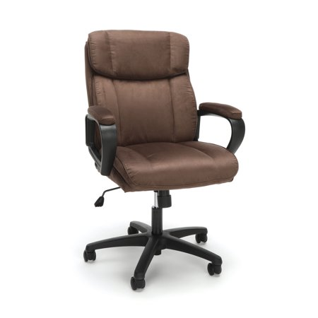 ESS-3082-BRN Office Furniture Essential Series Nylon Base Adjustable Seat Height Plush Microfiber Brown Chair (Plush Seats)