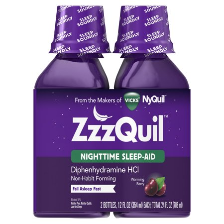 ZzzQuil Nighttime Sleep Aid Liquid by Vicks, Warming Berry Flavor, 12 Fl Oz, 2 (Best Over The Counter Sleep Aids 2019)