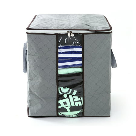 TSV Foldable Clothes Blanket Quilt Closet Sweater Storage Bag Organizer Box Pouches (Canvas Sweater Organizer)
