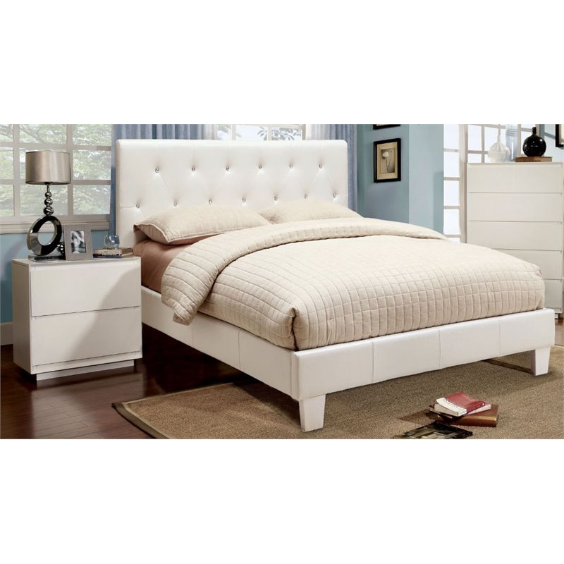 Furniture of America Kylen 2 Piece Upholstered Full Bedroom Set in White
