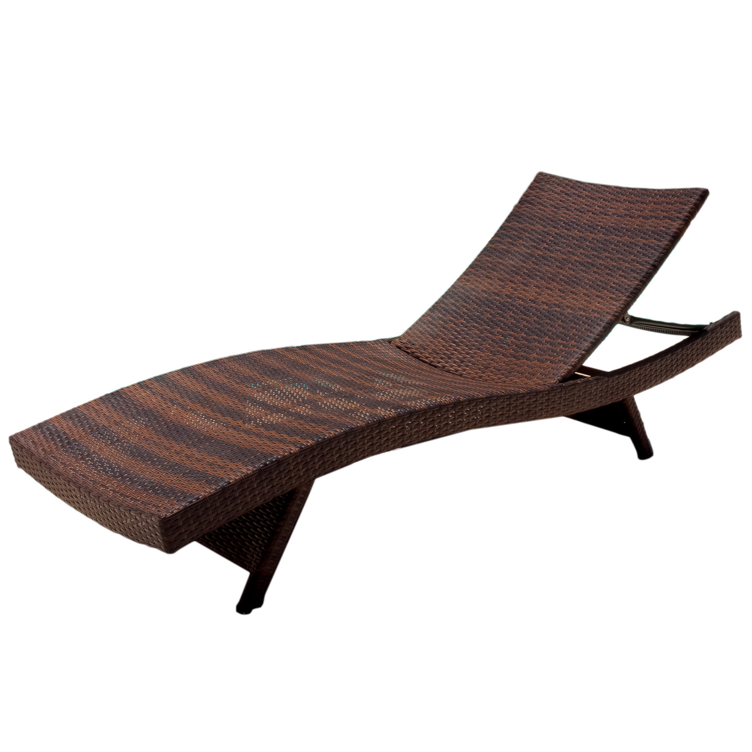 Noble House Outdoor Brown Wicker Adjustable Chaise Lounge Chair (Set Of 2)