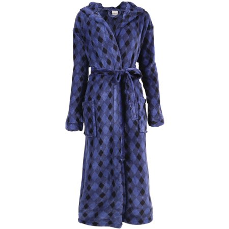 Men's Plush Warm Long Hooded Bathrobe Kimono Robe, Blue/Black ()