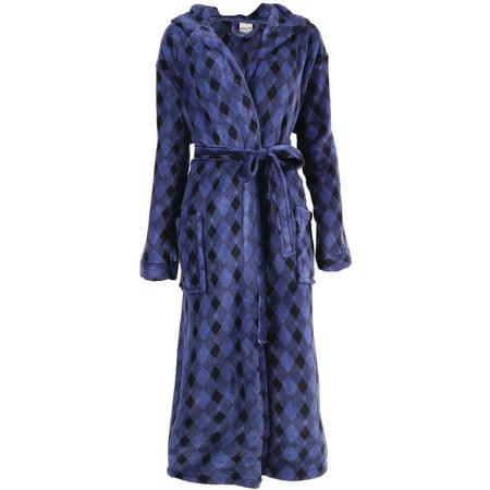 Men's Plush Warm Long Hooded Bathrobe Kimono Robe, Blue/Black - Mens Hooded Bathrobe