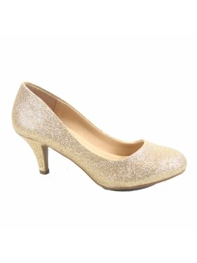 230efbcff44b Product Image Carlos-s Women s Patent Glitter Round Toe Low Heel Pump Dress  Shoes