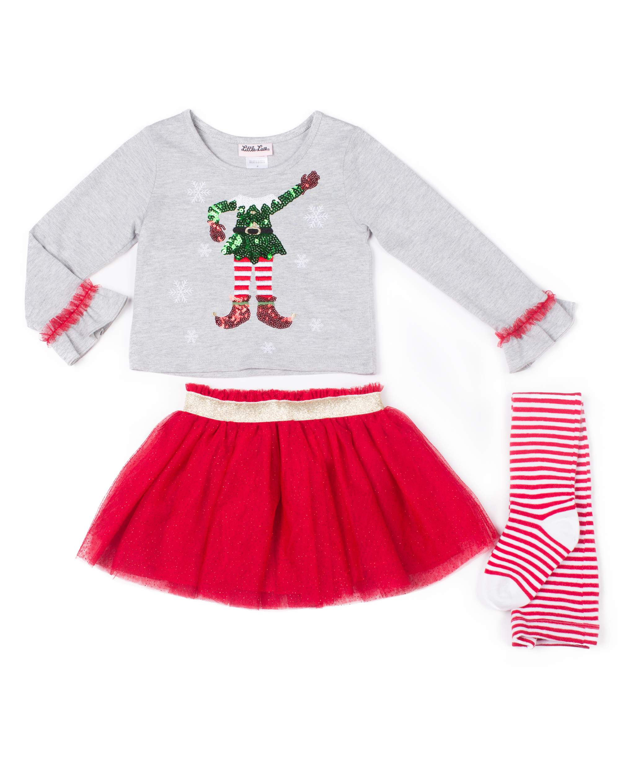 Holiday Elfie Selfie Top, Tulle Skirt & Tights, 3-Piece Outfit Set (Little Girls)
