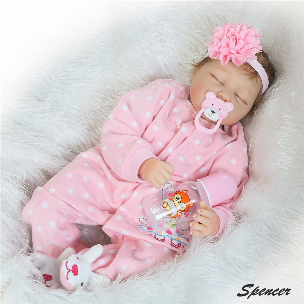 """Spencer 22"""" 55cm Handmade Soft Silicone Vinyl Real Life Reborn Baby Girl Doll Pink Clothes Sleeping... by SpencerToys"""
