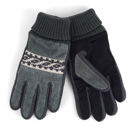 Mens Leather Non Slip Grip Winter Gloves With Soft Acrylic Lining
