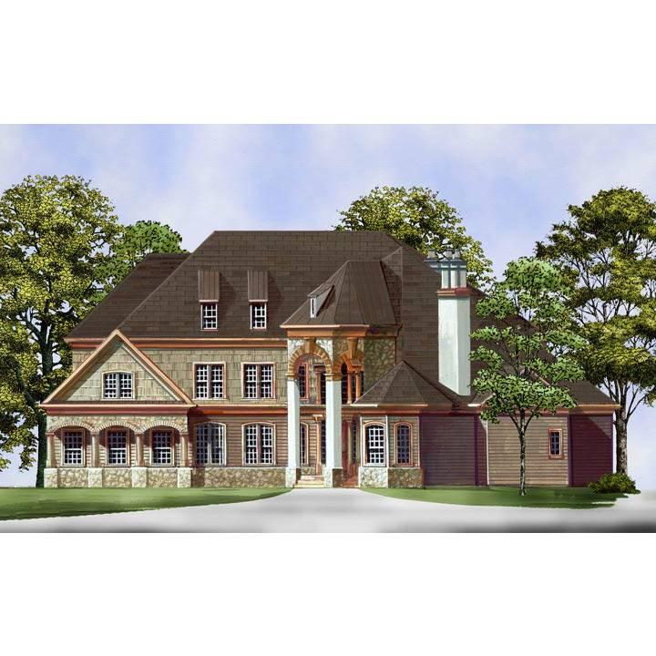 TheHouseDesigners-5985 European House Plan with Walk-out Basement Foundation (5 Printed Sets)