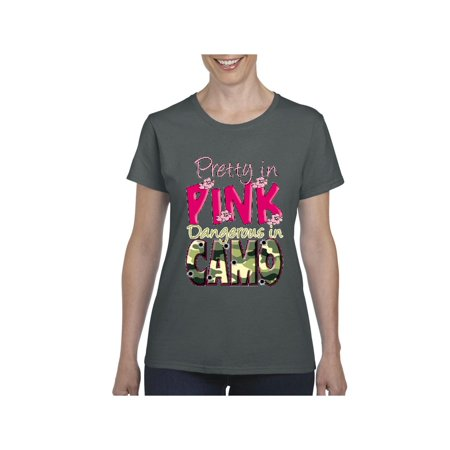 Pretty in Pink Dangerous in Camo Women Shirts T-Shirt Tee - Pretty Eskimo Women